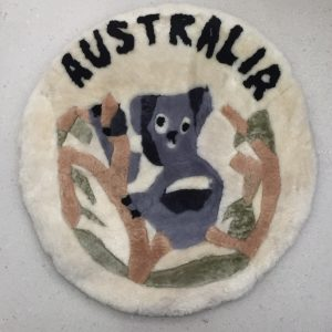 Sheepskin Cushion with Koala Design