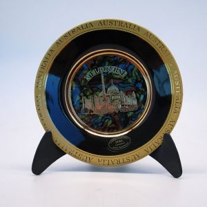 24-Karat Gold Ceramic Plate with Opal Background